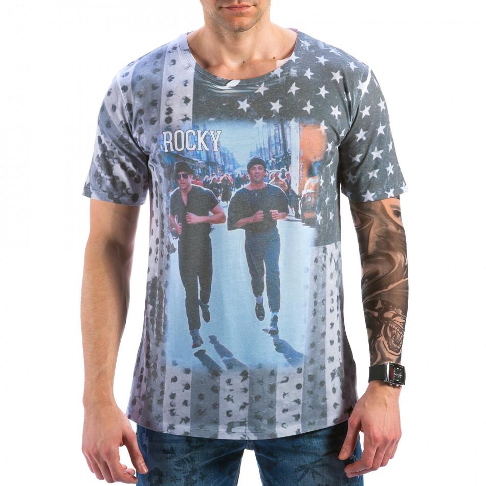 Мъжка сива тениска с Роки  il180215-98