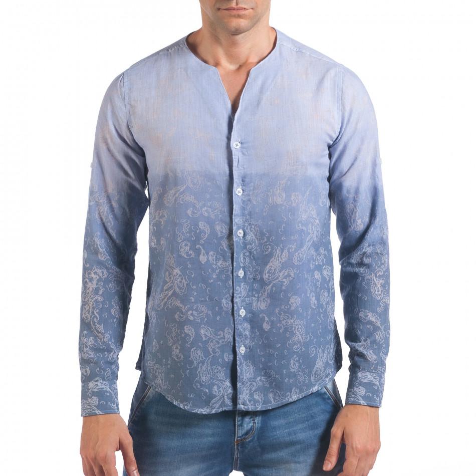 Мъжка синя риза с преливащо оцветяване и фигурална шарка il060616-114