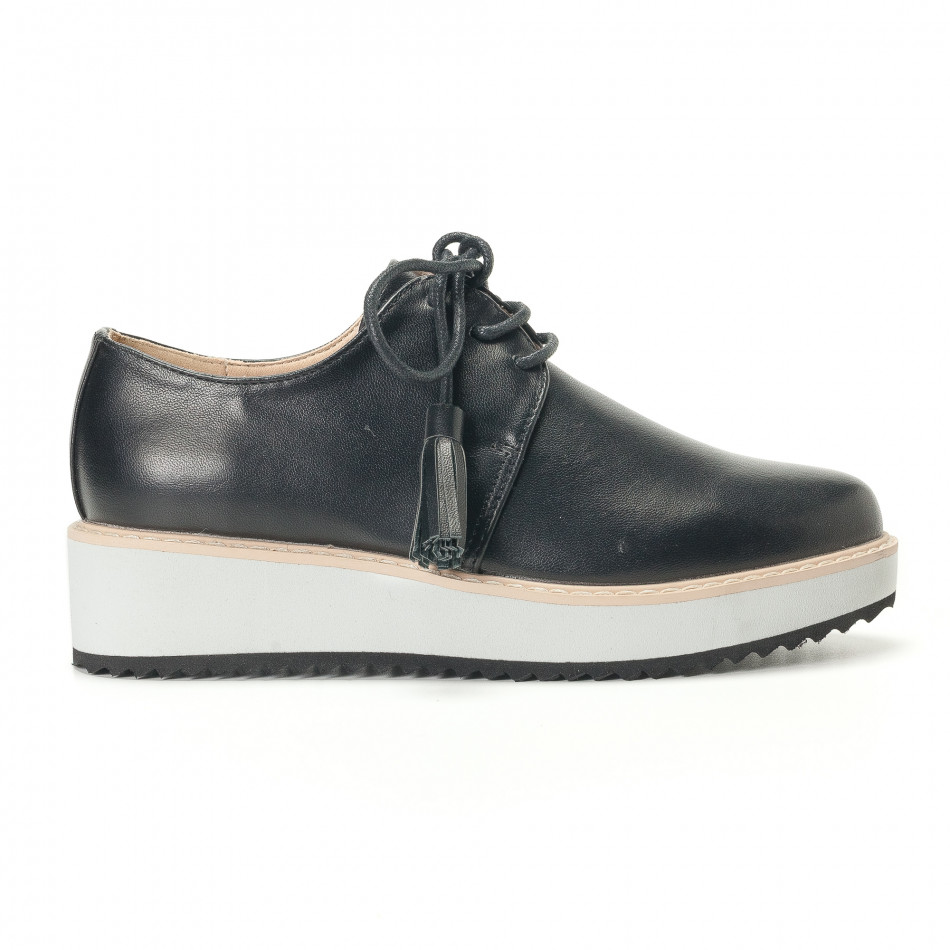 Дамски черни обувки с бели подметки it240118-59