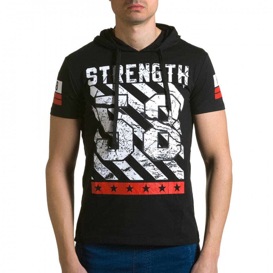 Мъжка черна тениска с качулка и номер 58 ca190116-41