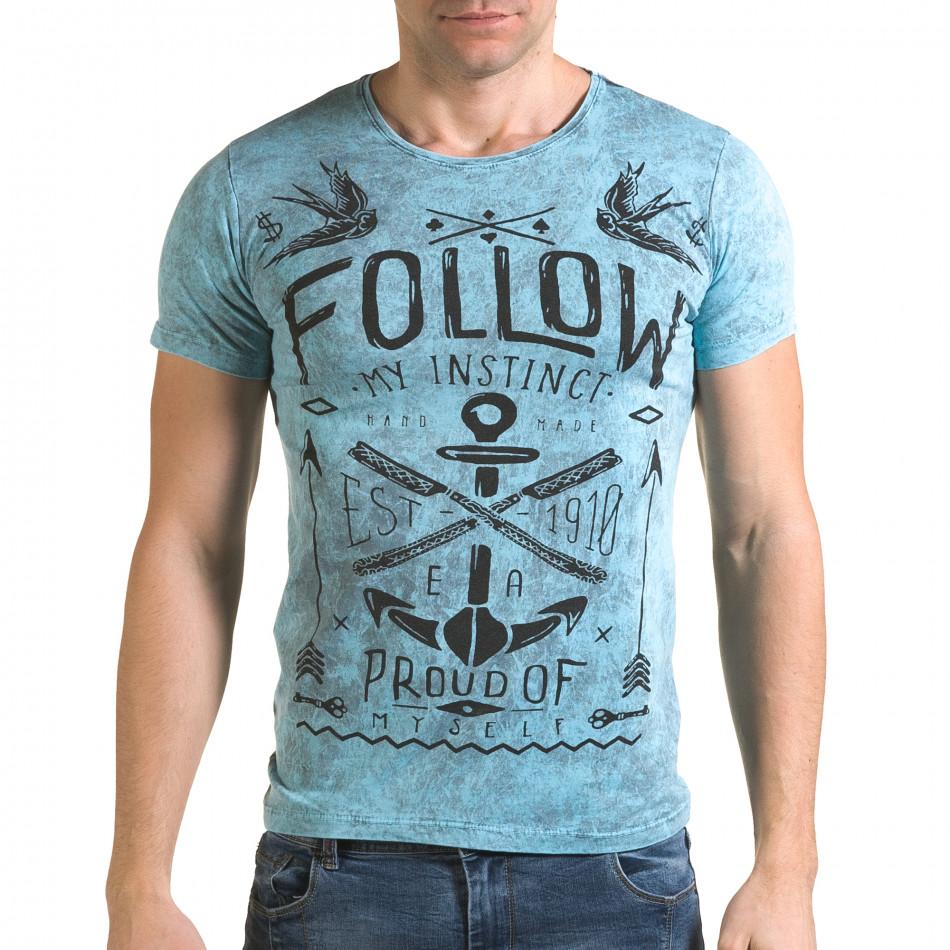Мъжка синя тениска с надпис Follow il120216-15