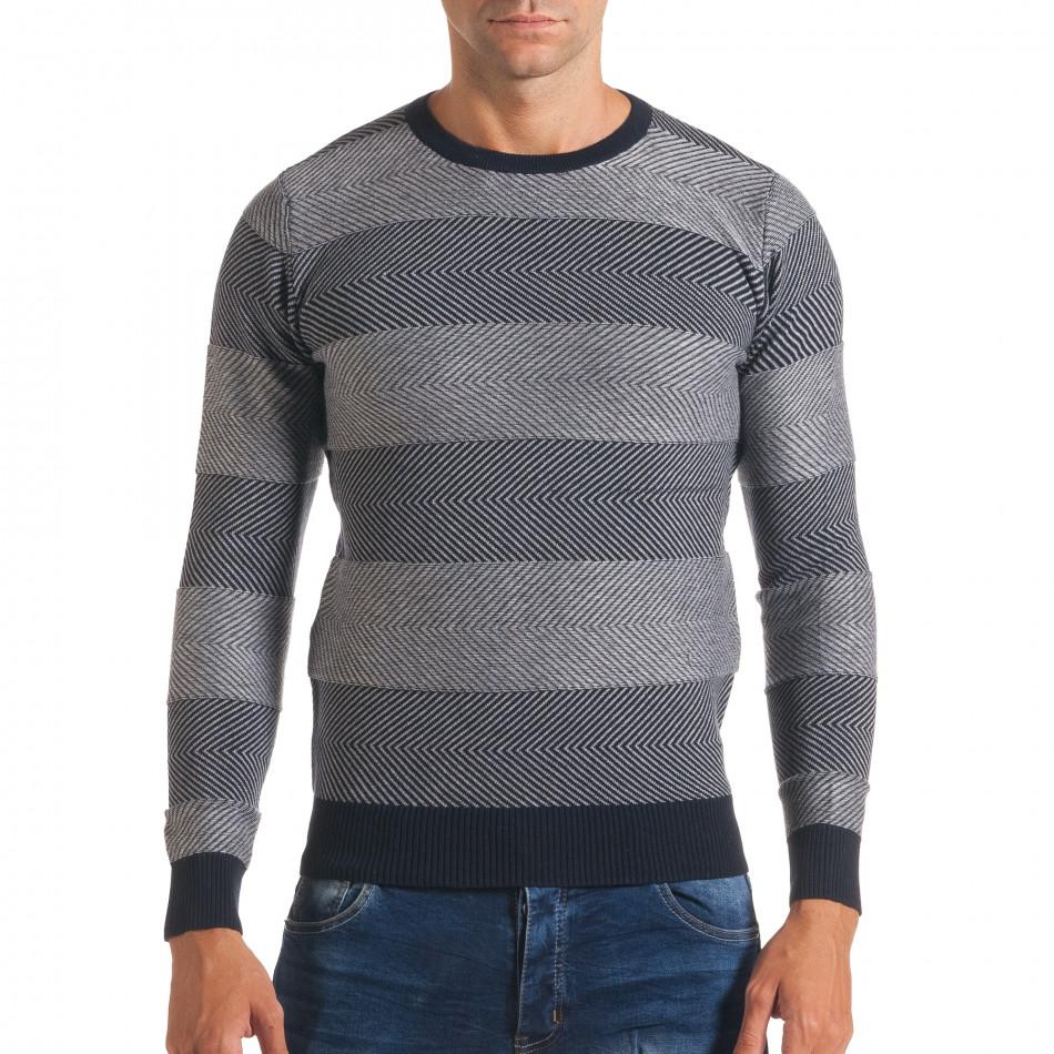 Мъжки синьо-сив пуловер с фини райета it170816-2