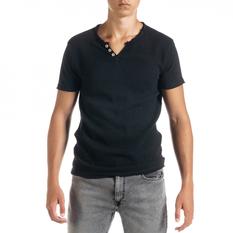 Мъжка тениска от памук и лен в черно it010720-25