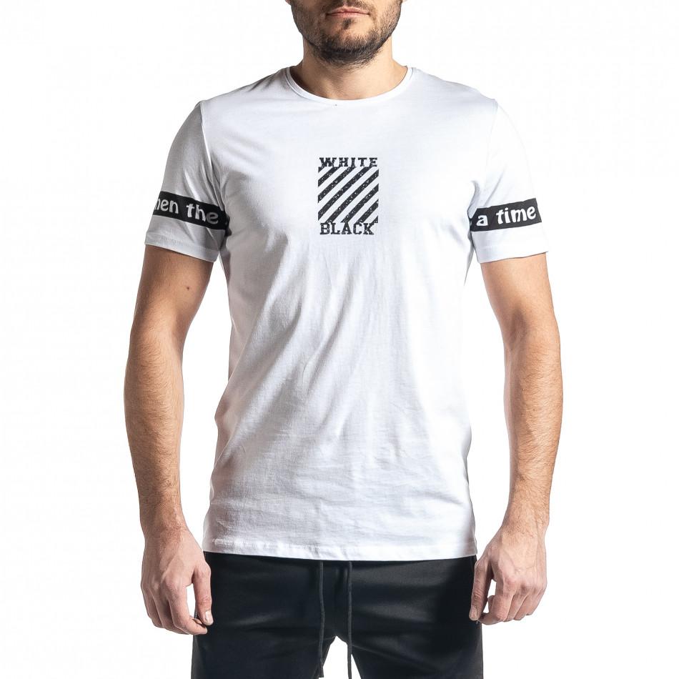Мъжка бяла тениска White Black tr010221-9