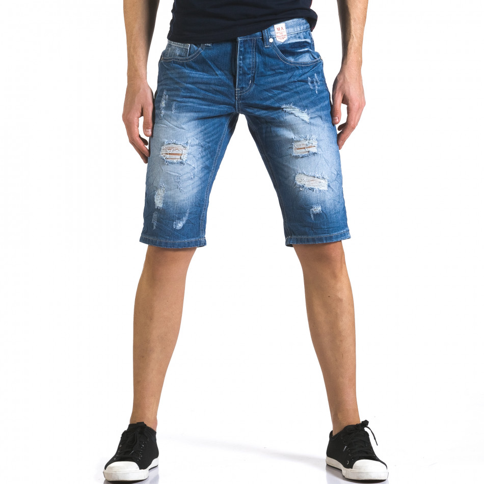 Мъжки къси дънки с големи скъсвания it110316-69