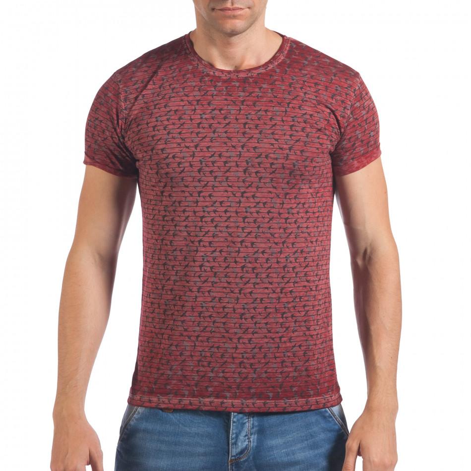 Мъжка червена тениска с малки лястовички il060616-42