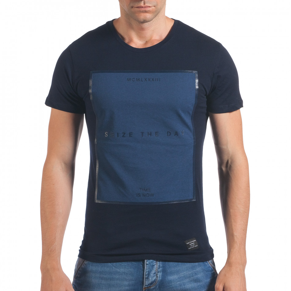 Мъжка синя тениска Seize the day il060616-29