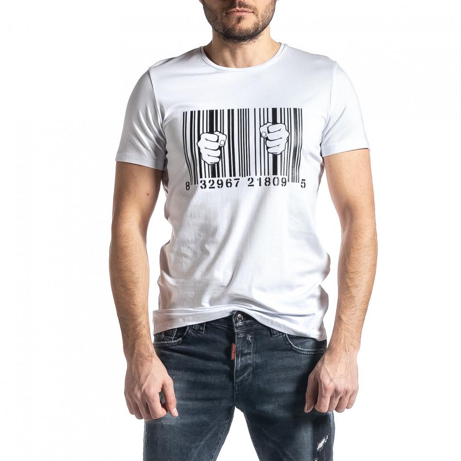 Мъжка бяла тениска Barcode tr010221-21