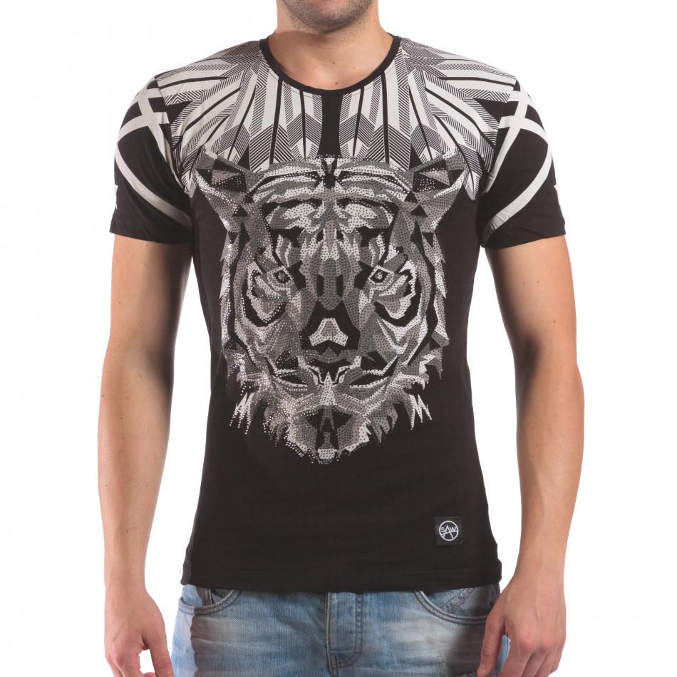 Мъжка черна тениска с тигър от камъни il210616-18