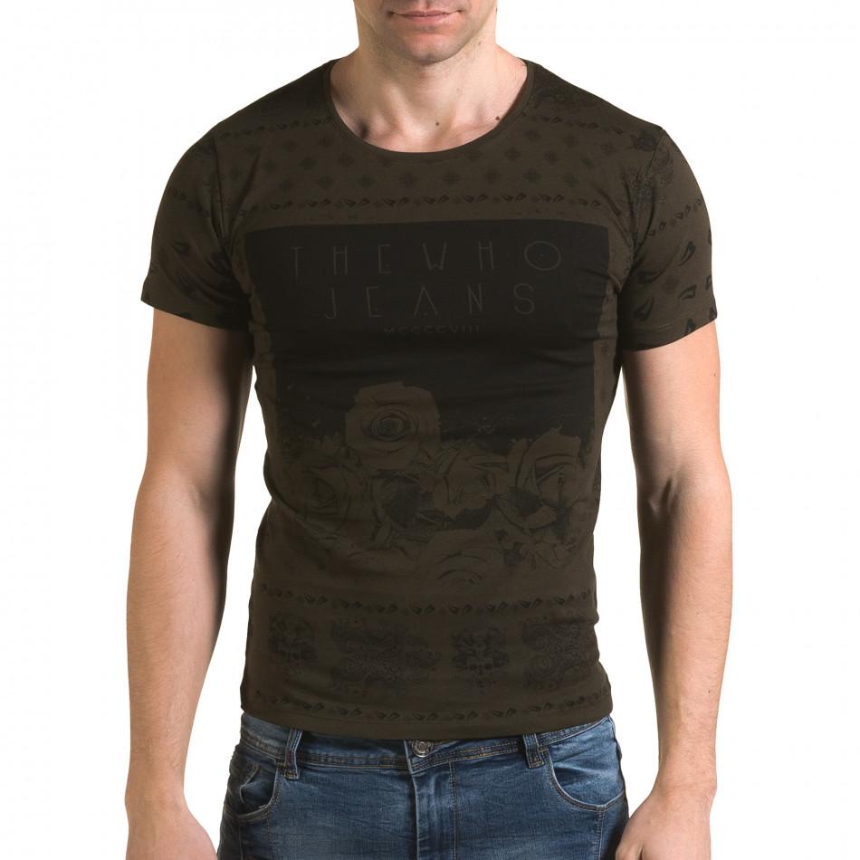 Мъжка зелена тениска с флорални мотиви и надпис il120216-54