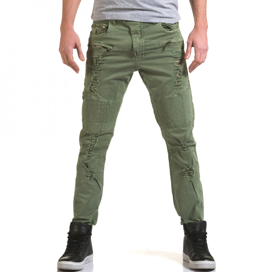 Мъжки зелен панталон с хоризонтални шевове it090216-7