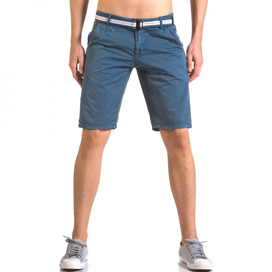 Мъжки син къс панталон с текстилен колан ca050416-65
