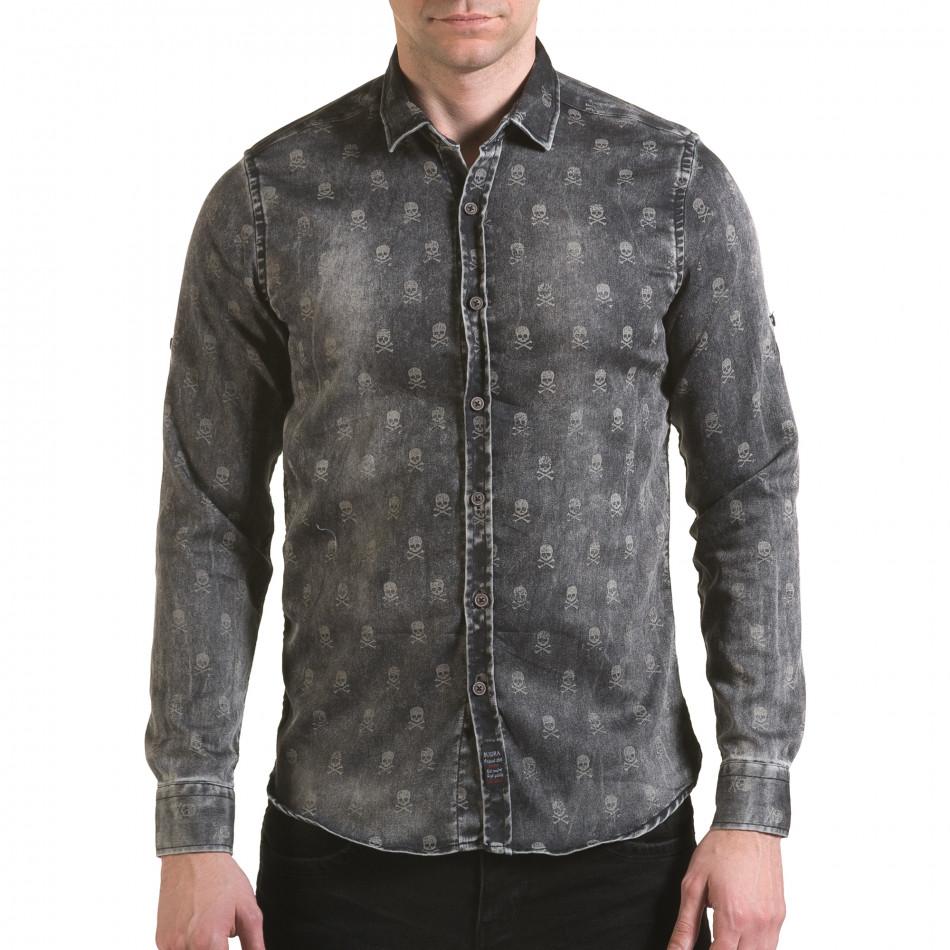 Мъжка риза сив деним с черепи il170216-130