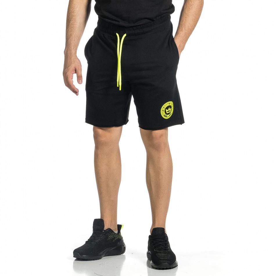 Трикотажни мъжки черни шорти с лого tr150521-23
