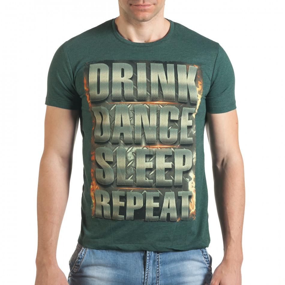 Зелена тениска с щампован голям надпис il140416-46