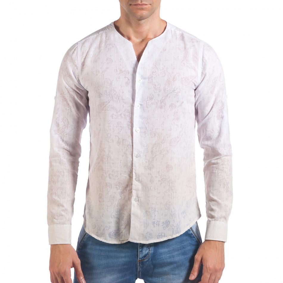 Мъжка бяла риза с преливащо оцветяване и фигурална шарка il060616-116