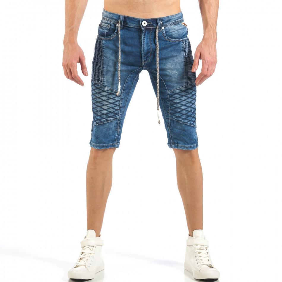 Мъжки къси Biker дънки в синьо it260318-114