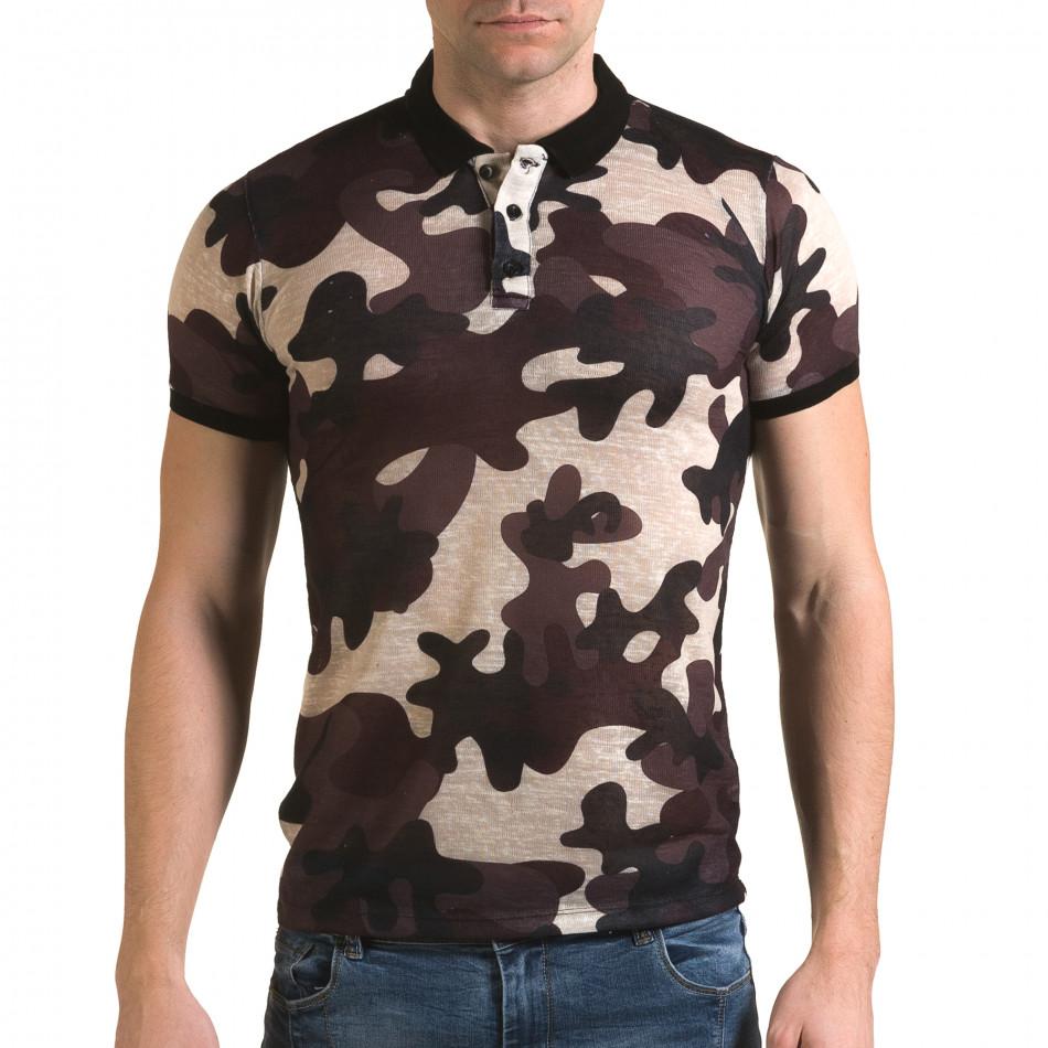 Мъжка тениска с яка бежово-лилав камуфлаж il120216-21