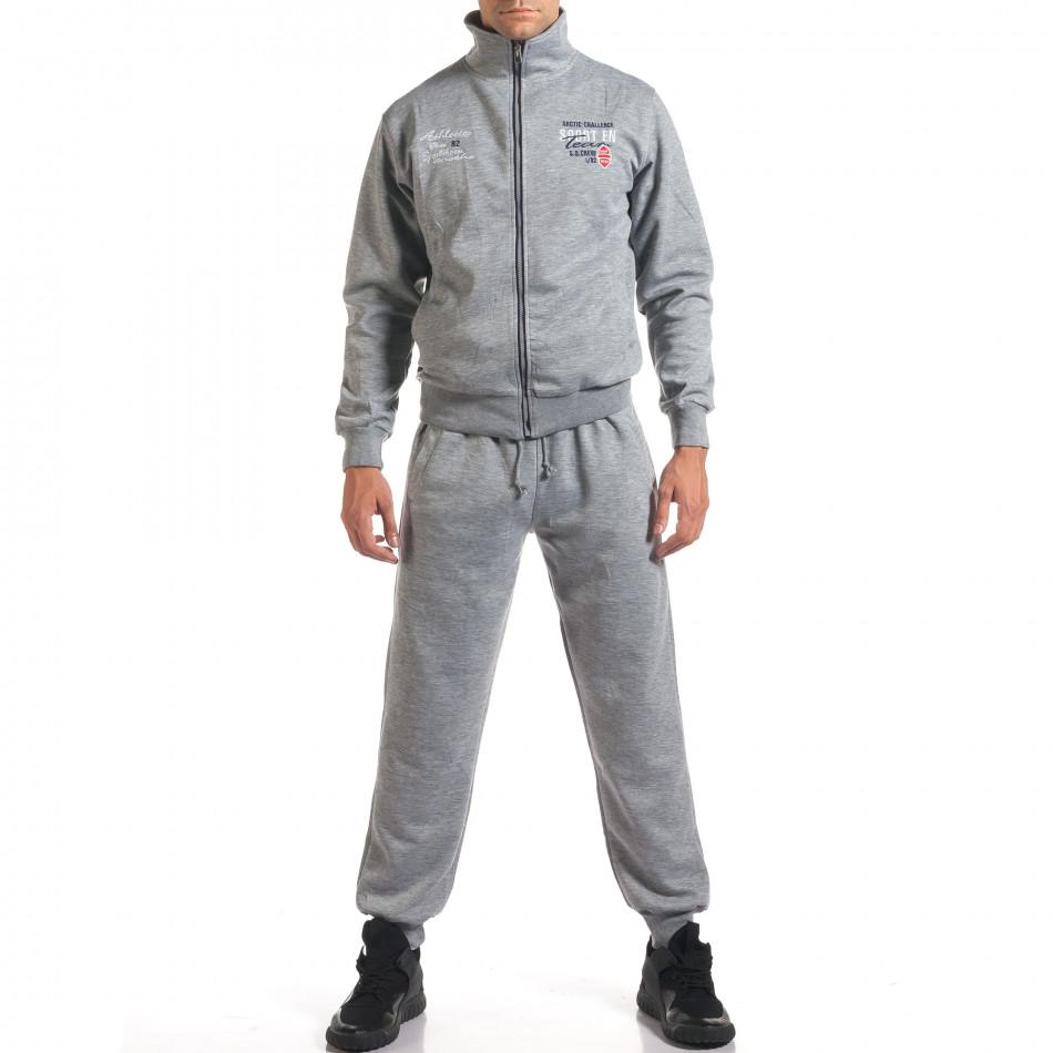 Мъжки светло сив спортен комплект с надписи it160916-72
