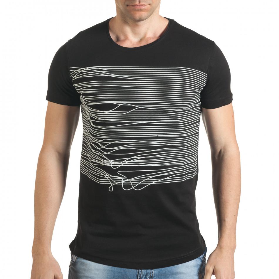 Черна мъжка тениска с голям номер 2 на гърба il140416-2