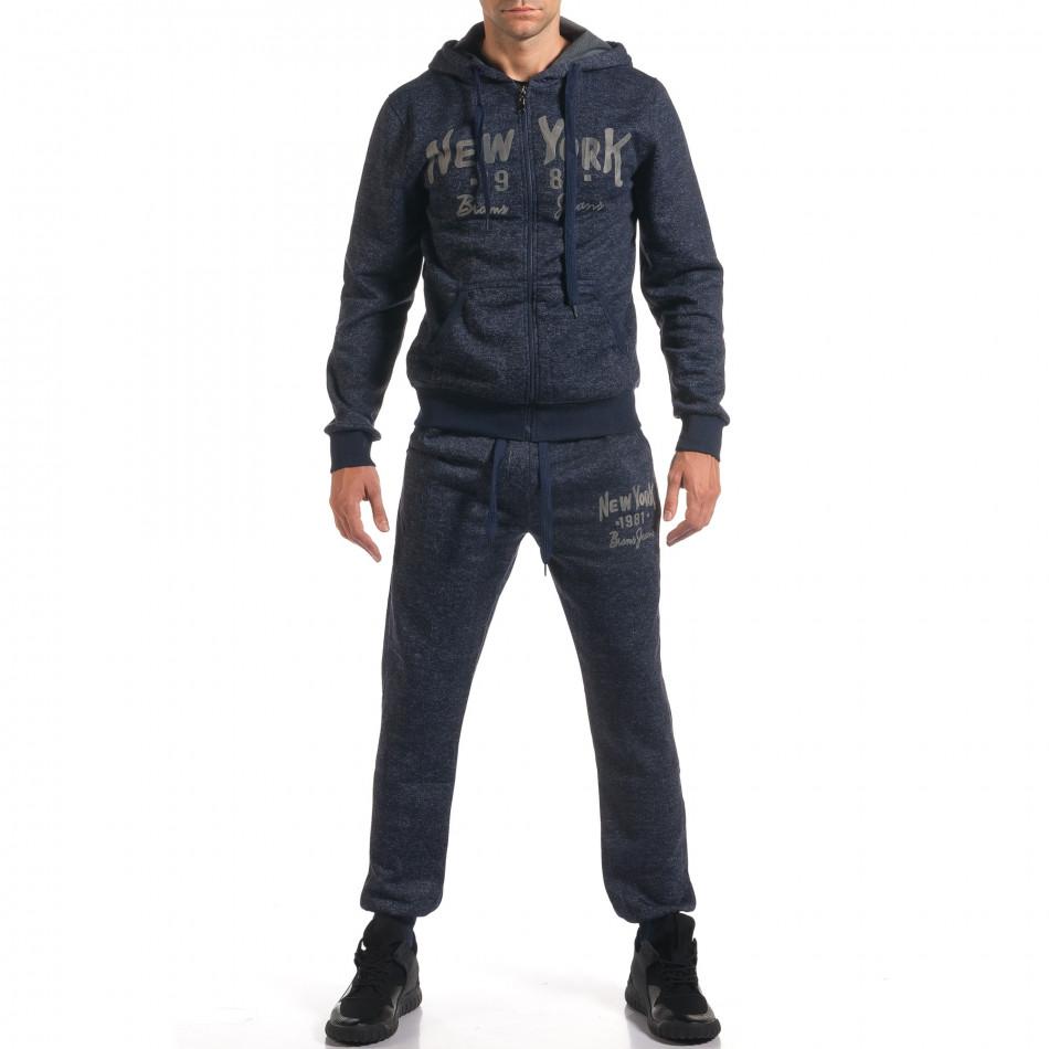 Мъжки син спортен комплект с надпис New York it210916-1