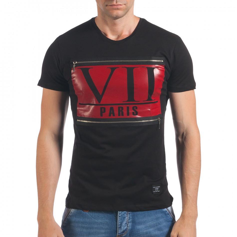 Мъжка черна тениска VII Paris il060616-25