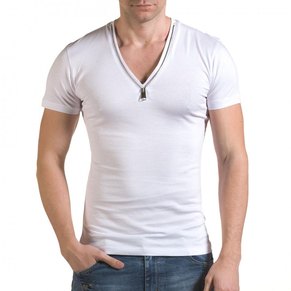 Мъжка бяла тениска с цип на деколтето il170216-65
