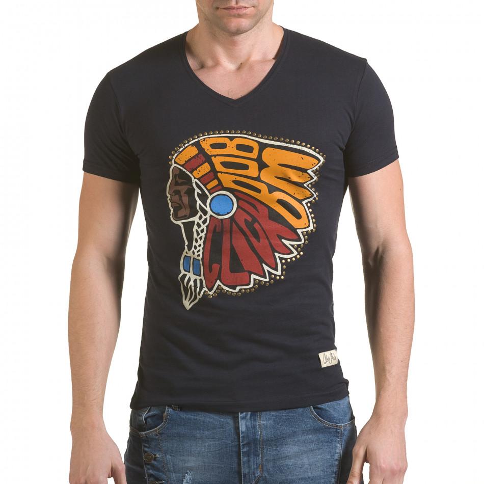 Мъжка синя тениска с принт индианец il170216-90