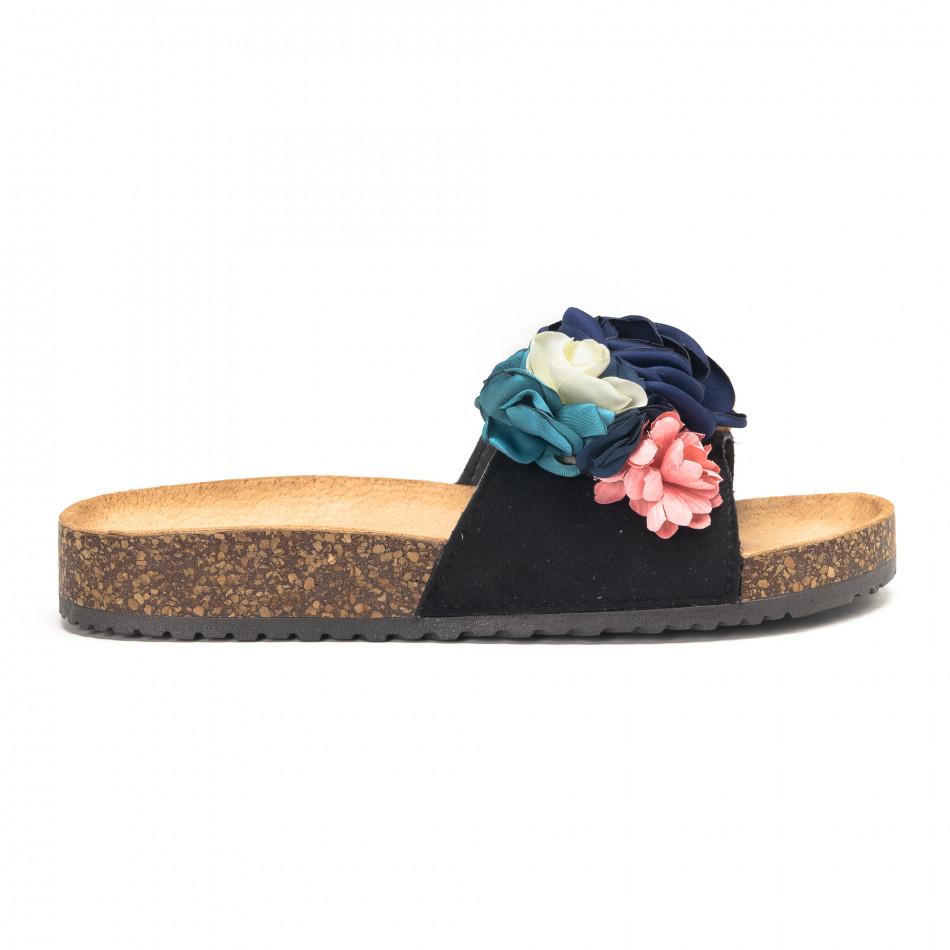 Черни дамски чехли с флорален дизайн it190618-8