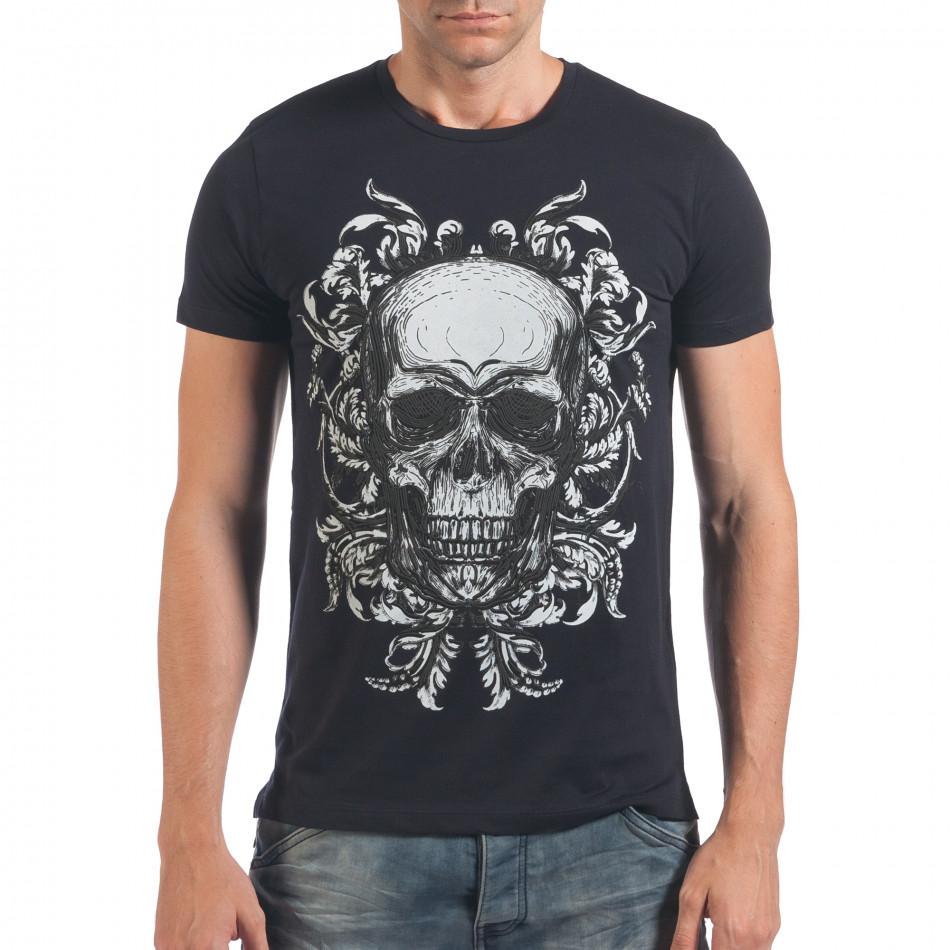 Мъжка синя тениска с череп il060616-32