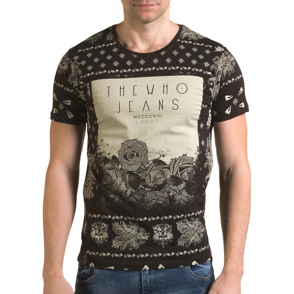 Мъжка кафява тениска с флорални мотиви и надпис il120216-56