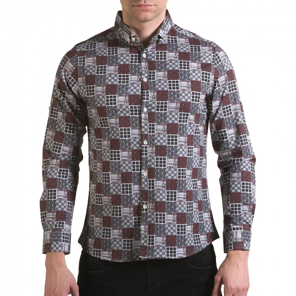 Мъжка червено-сива риза il170216-102