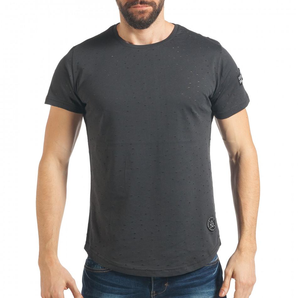 Мъжка тъмно сива тениска Slim fit с малки прокъсвания tsf020218-43
