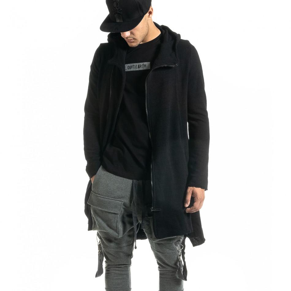 Удължен мъжки черен суичър Hip Hop стил tr020920-28