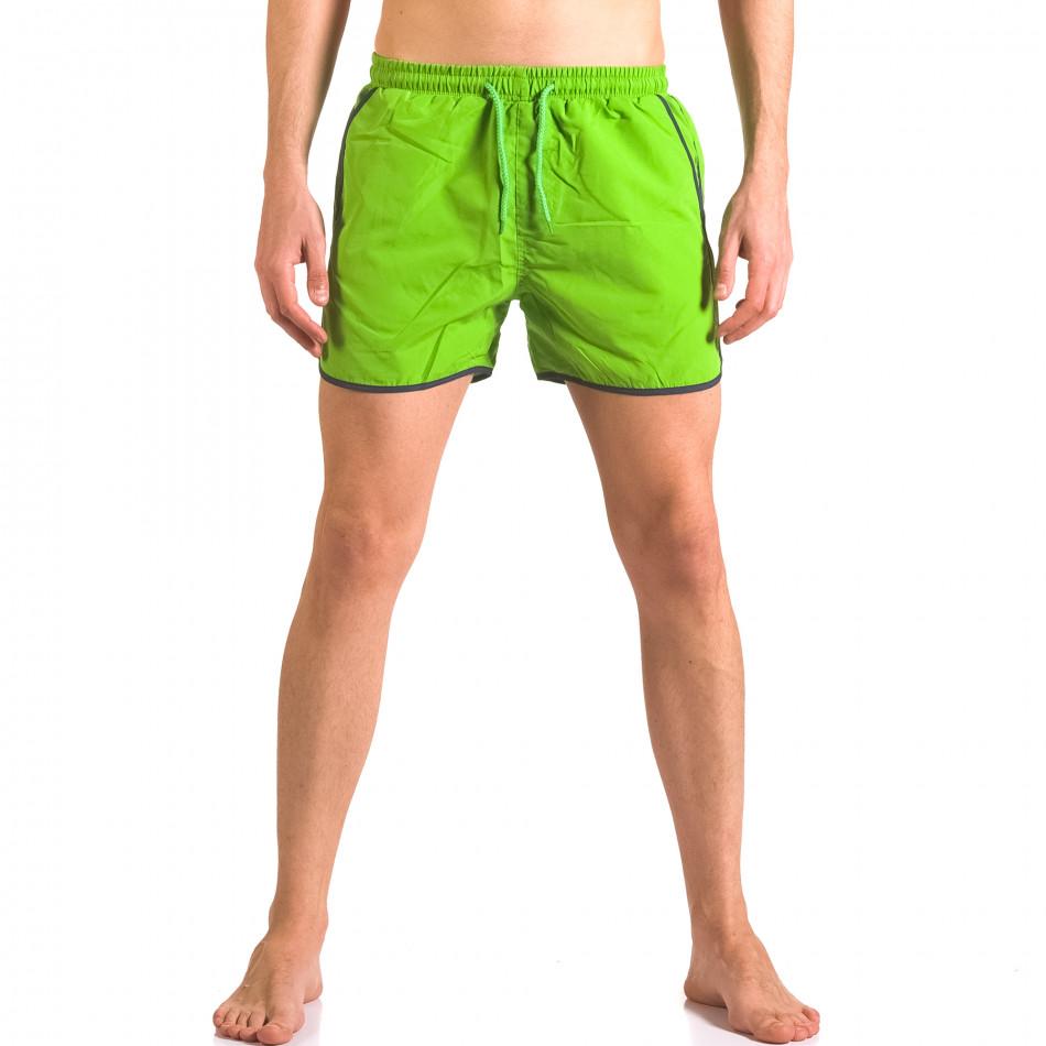 Мъжки зелени бански тип шорти с връзки ca050416-14