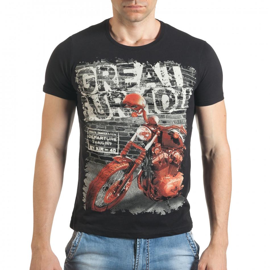 Мъжка черна тениска с рокерска щампа il140416-50