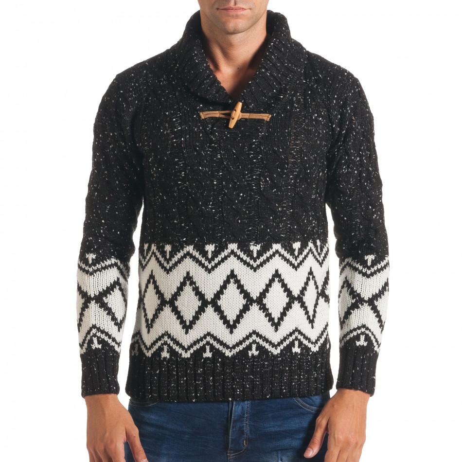 Мъжки черен зимен пуловер с бели фигури it170816-55