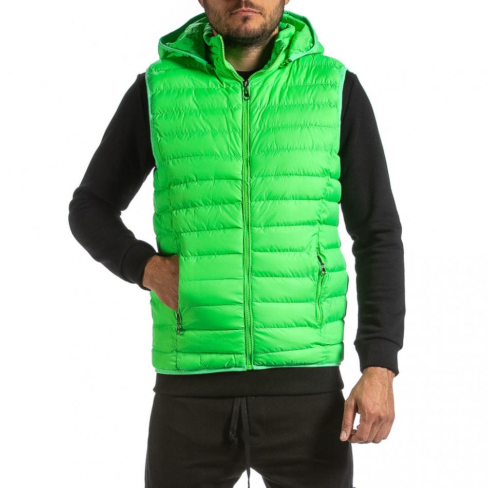 Basic капитониран елек с качулка неоново зелено it070921-23