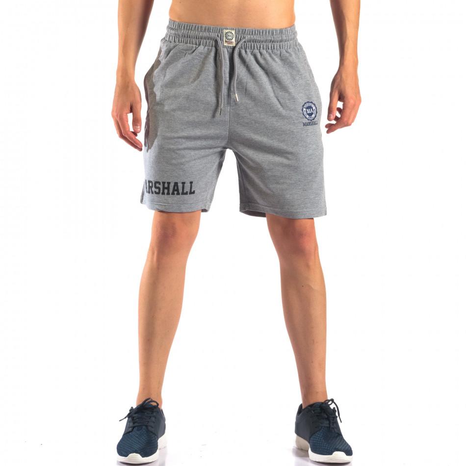 Мъжки сиви шорти с емблема it160616-4
