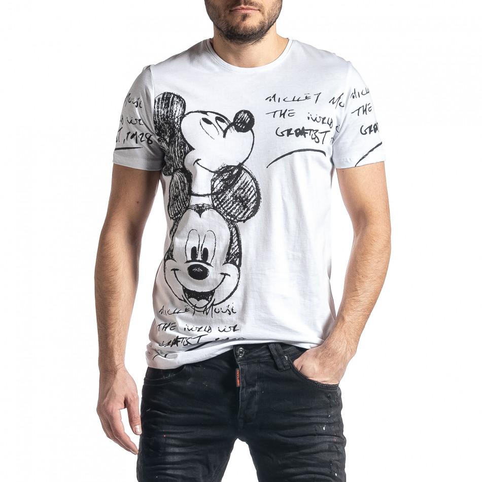 Мъжка бяла тениска Mickey tr010221-7