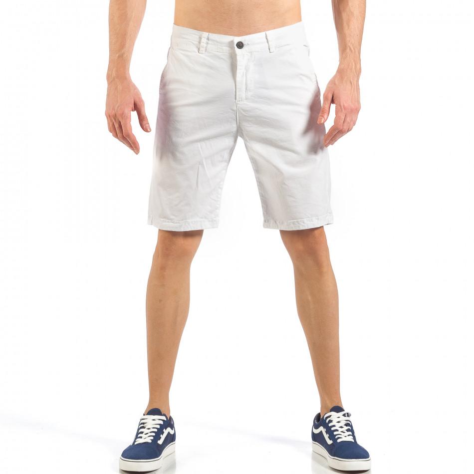 Мъжки basic къси панталони в бяло it260318-124