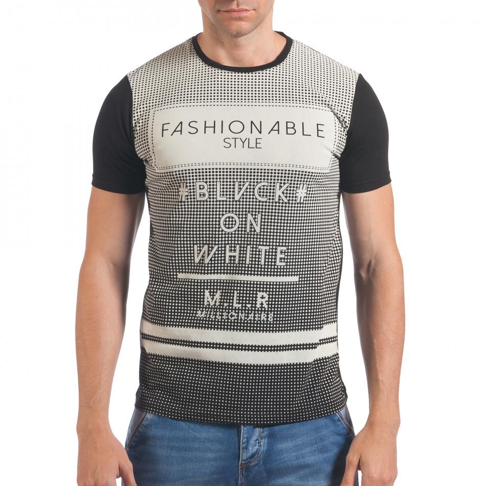 Мъжка черна тениска с точки и принт il060616-68