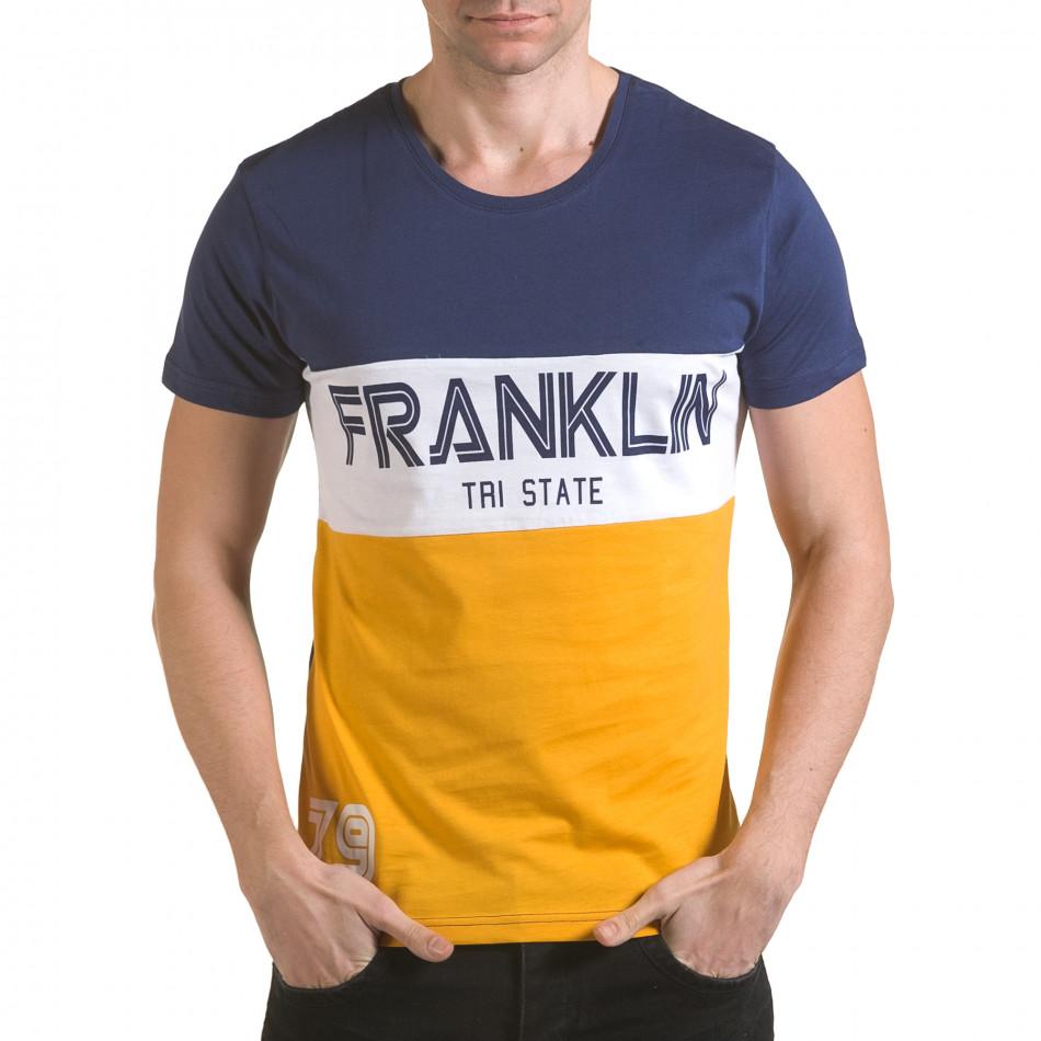 Мъжка синя тениска с жълта долна част il170216-12