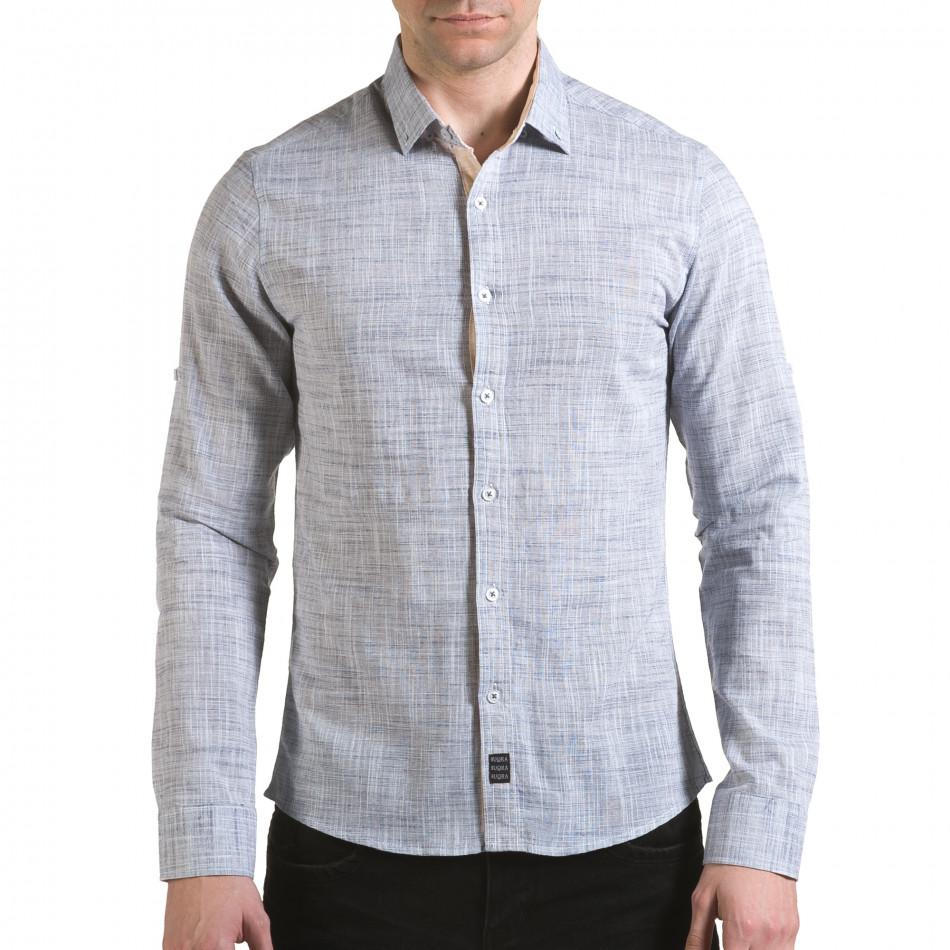 Мъжка светло сива риза изчистен модел il170216-122