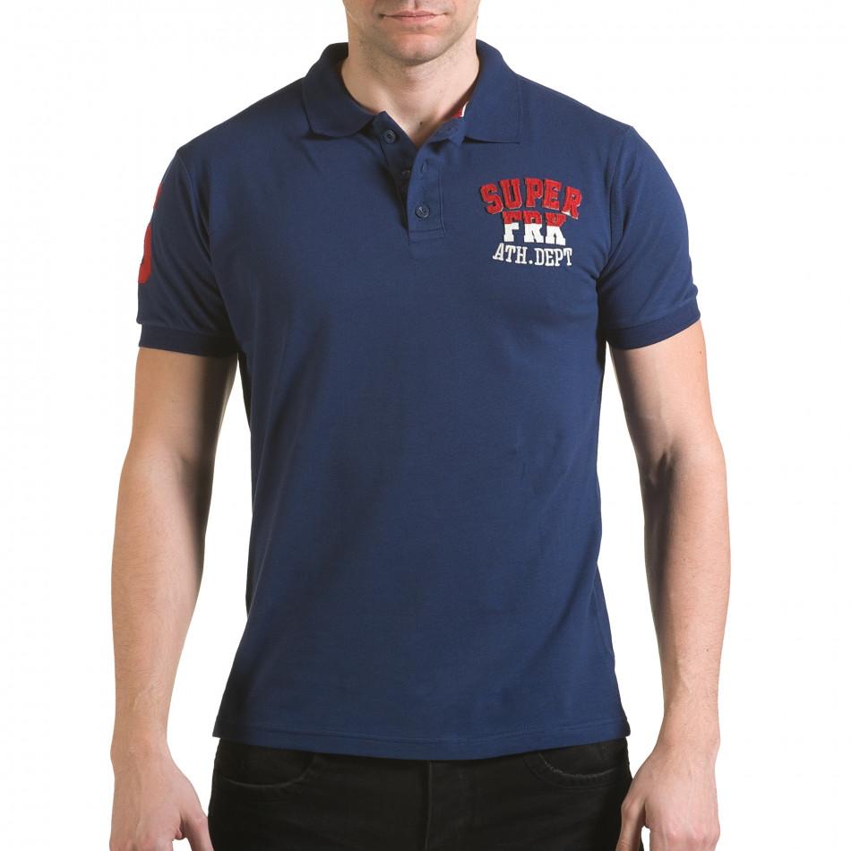 Мъжка тъмно синя тениска с яка с релефен надпис Super FRK il170216-28