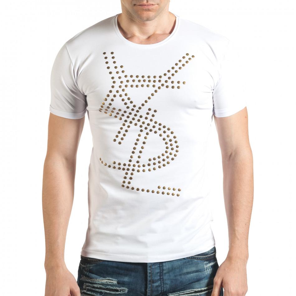 Бяла мъжка тениска с метални капси отпред il140416-67