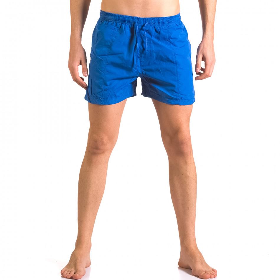 Мъжки сини бански тип шорти с джобове отпред ca050416-16