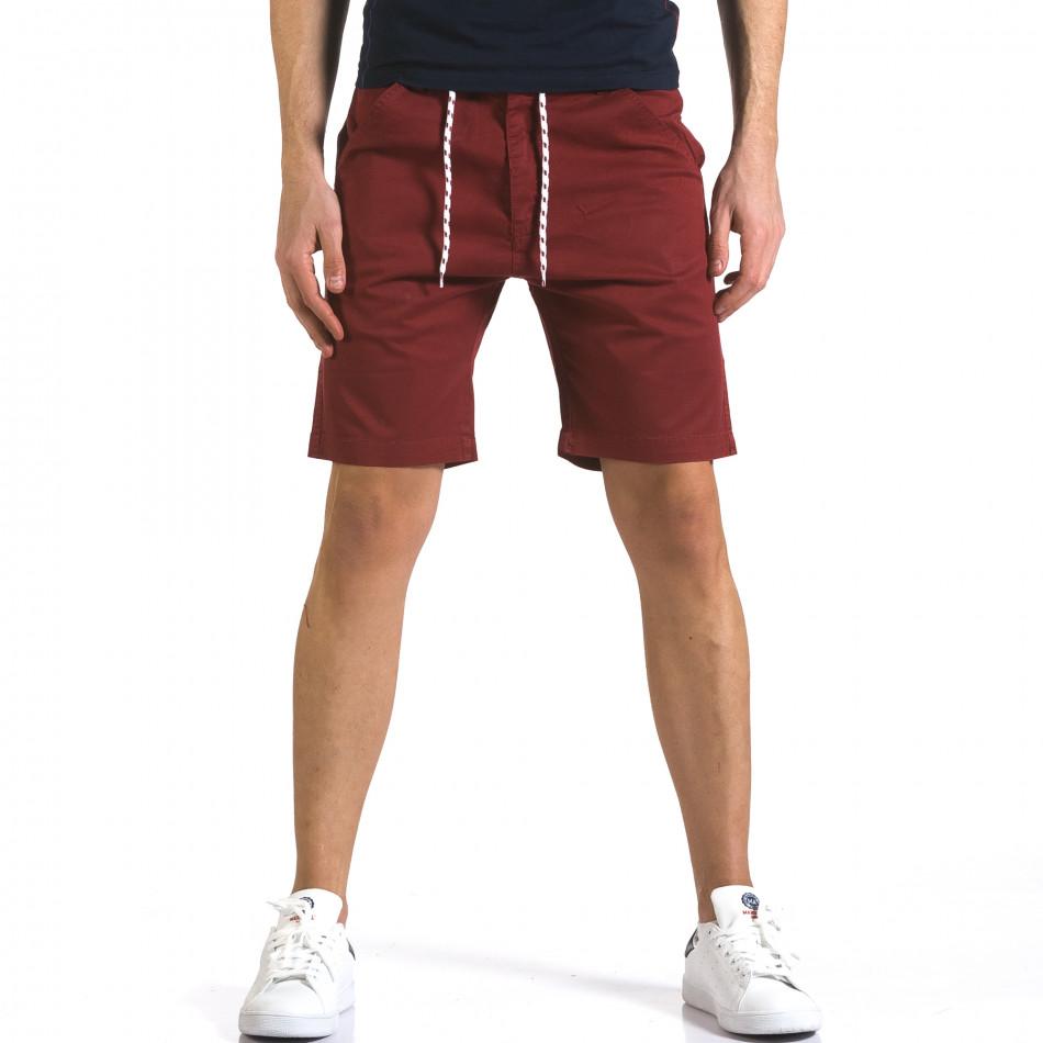 Мъжки червени къси панталони с връзки it110316-38