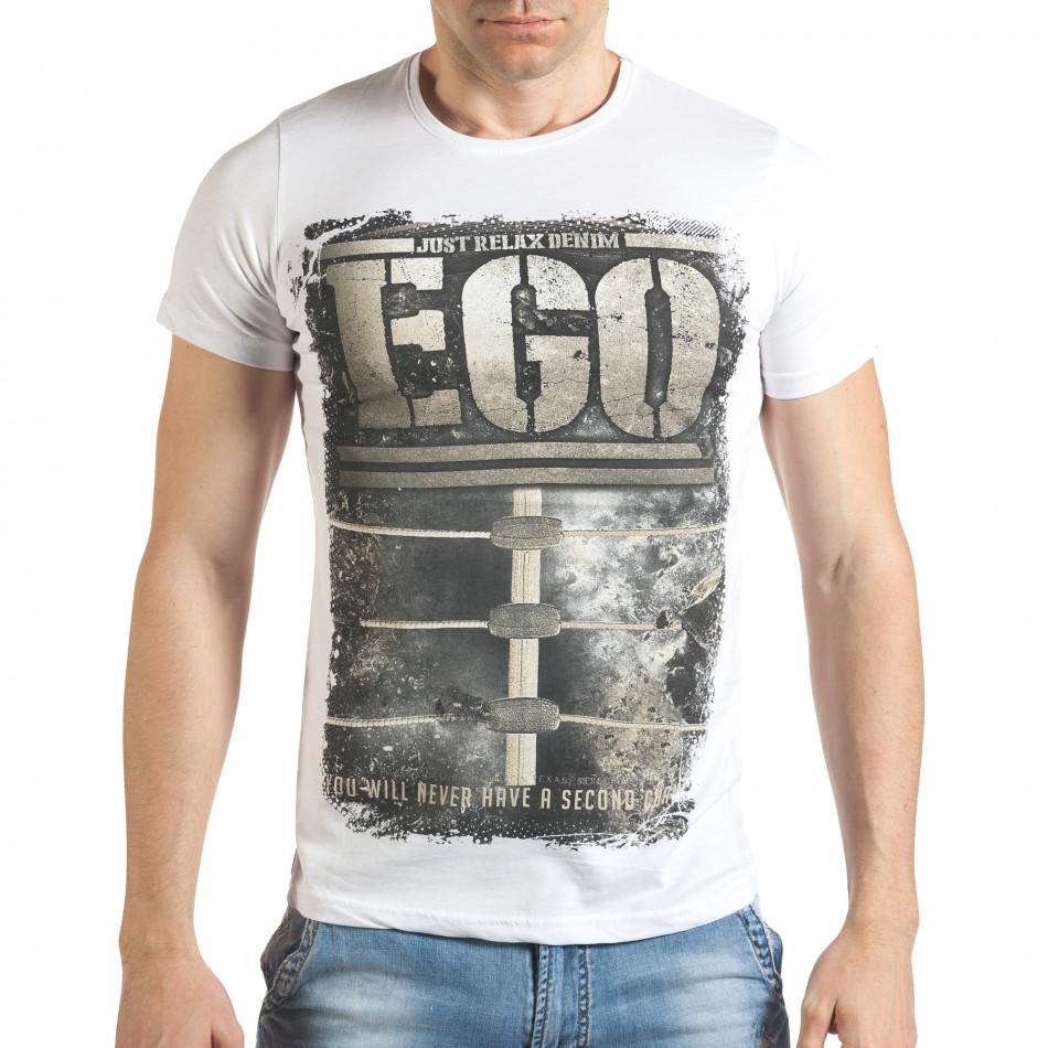 Бяла мъжка тениска с голям бежов принт il140416-32