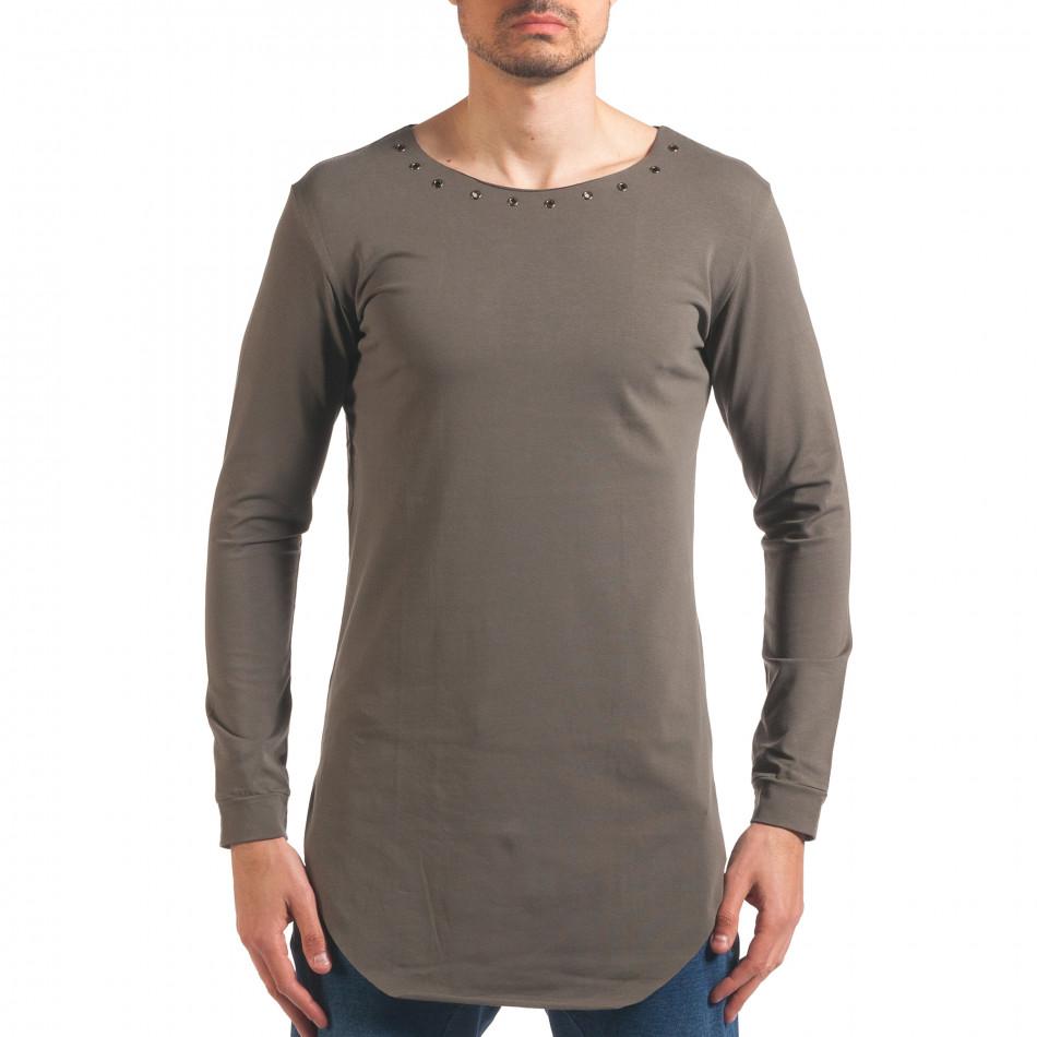 80f963d037c Мъжка зелена блуза с дълъг ръкав и метални капси it250416-77 ...